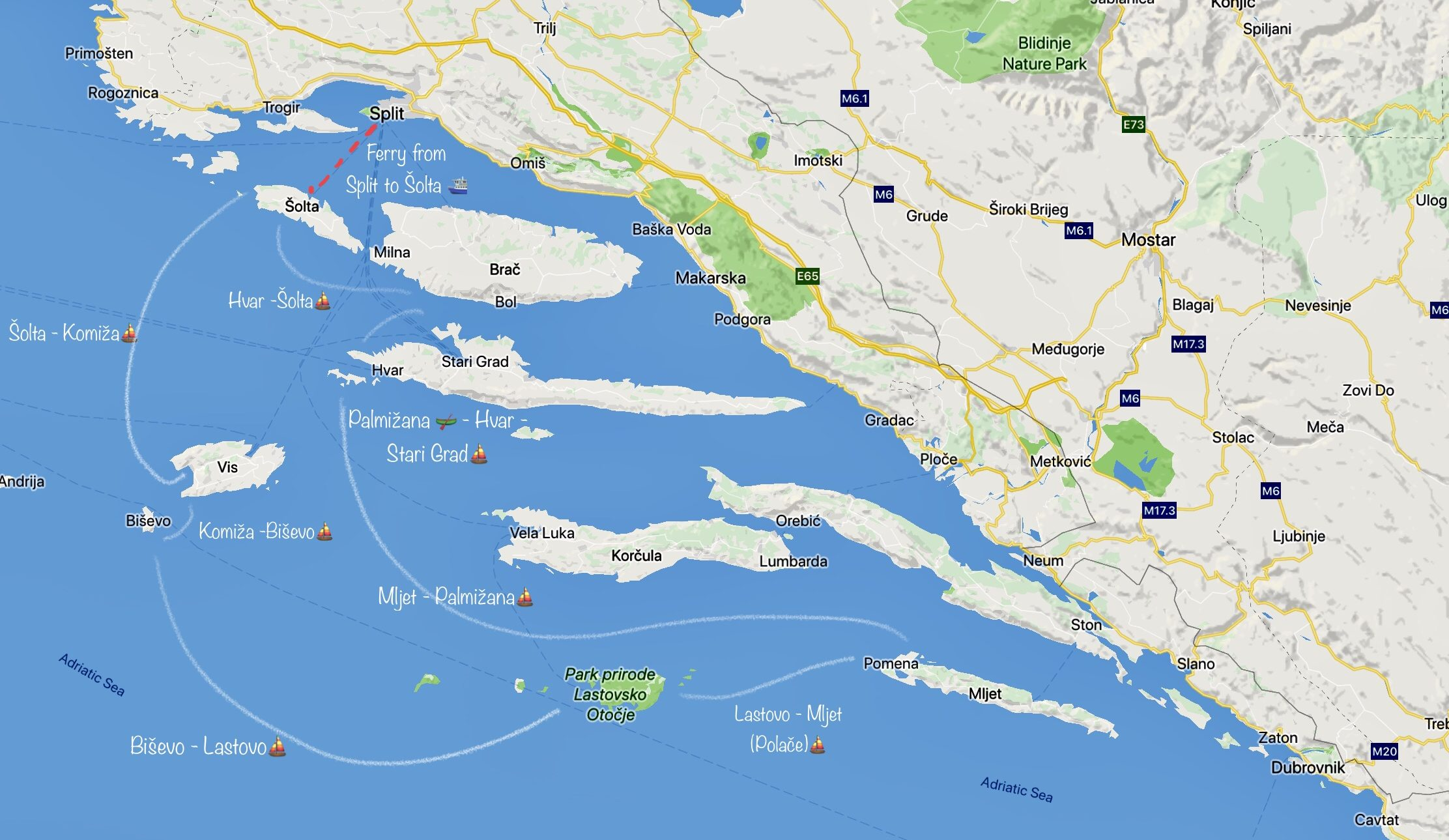 Map for sailing and island hopping in Croatia