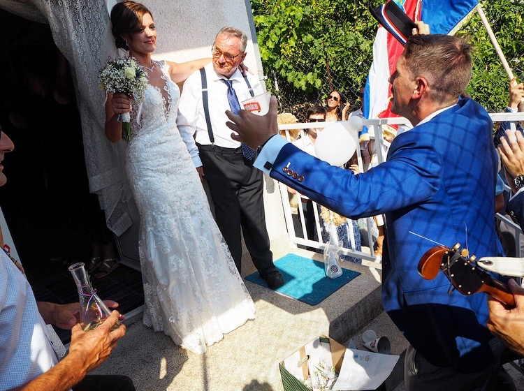 Traditional Croatian wedding bride pick up