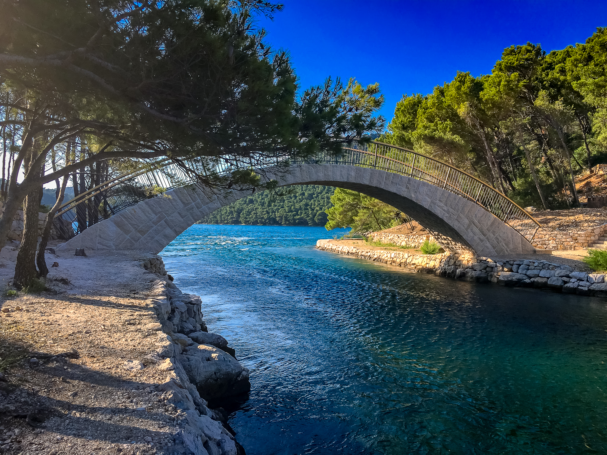 The bridge where the lake meets the sea on island mljet