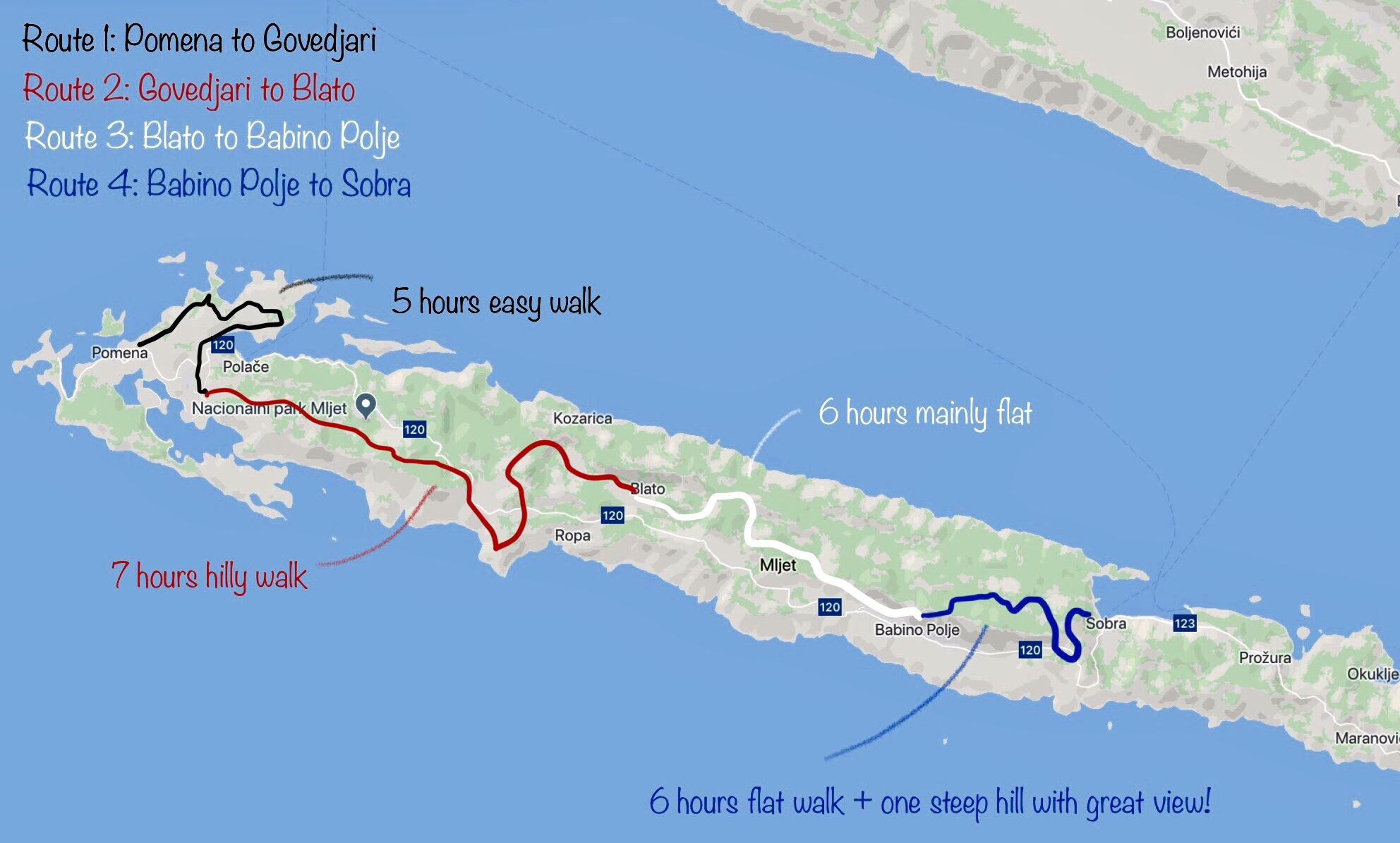Walking routes on Island Mljet