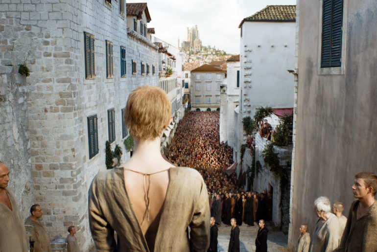 Cersei Lannister doing the walk of shame in King's Landing